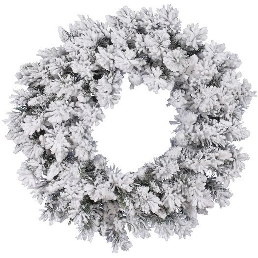 Vickerman Co. Flocked Snow Ridge Wreath with 160 Tips