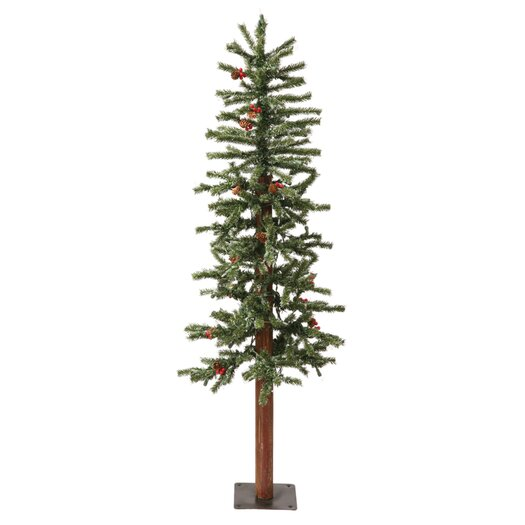 Vickerman Co. 7' Green Alpine Berry Artificial Christmas Tree with 300 LED White Lights and Frosted