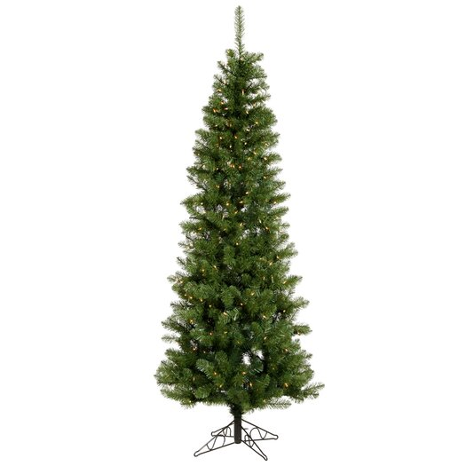 Vickerman Co. Salem Pencil Pine 8.5' Green Artificial Christmas Tree with 360 Warm White LED Lights with Stand