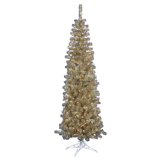 Vickerman Co. Champagne Pencil 5.5' Artificial Christmas Tree with 250 Clear Lights