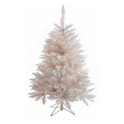 Vickerman Co. Crystal White Spruce 4.5' Spruce Artificial Christmas Tree with 165 LED Multicolored Lights with Stand