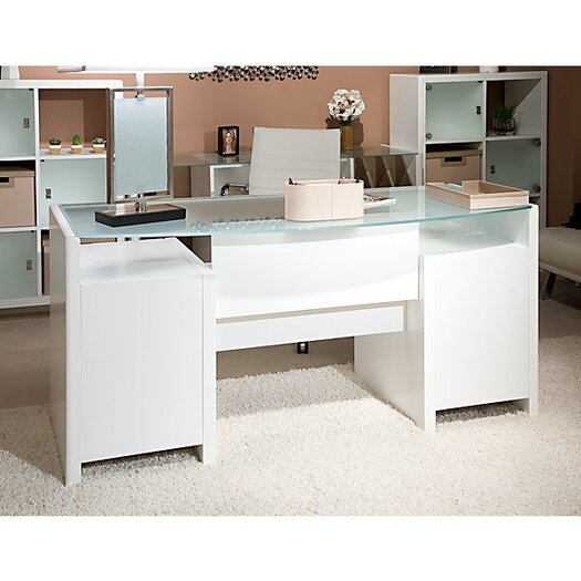 kathy ireland Office by Bush New York Skyline 63 Bow-front Double Pedestal Executive Desk