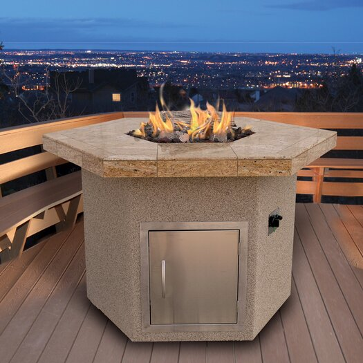 CalFlame Dining Height Hexagon Gas Fire Pit