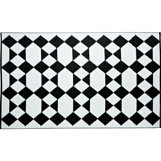 B. B. Begonia Designer Monte Carlo Black/White Indoor/Outdoor Area Rug