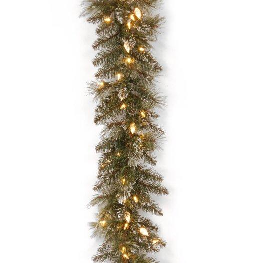 "National Tree Co. Glittery Bristle Pine Pre-Lit 9' x 10"" Garland"
