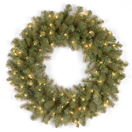 "National Tree Co. Douglas Pre-Lit 24"" Downswept Wreath"