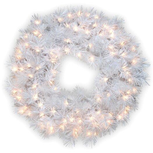 "National Tree Co. Pre-Lit 30"" Wispy Willow Grande Wreath"