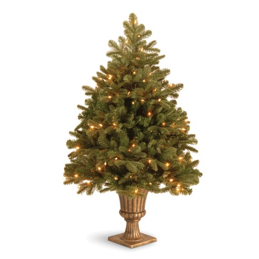 """National Tree Co. Noble Deluxe Fir Pre-Lit 3' 4"""" Green Fir Artificial Christmas Tree with 100 LED White Lights with Urn Base"""