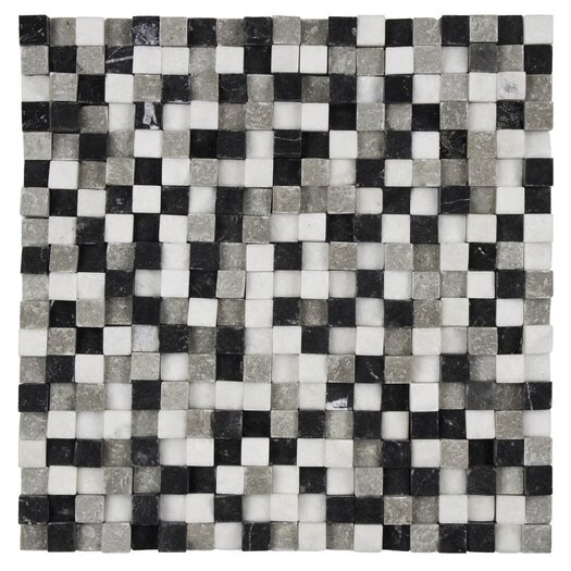 "EliteTile Grizelda Chiseled 3/5"" x 3/5"" Natural Stone Mosaic in Charcoal"