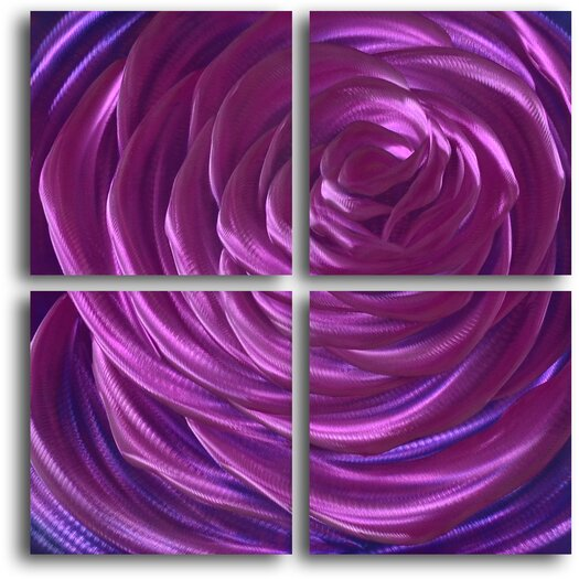 My Art Outlet Ensnaring Fushsia Rose 4 Piece Original Painting Plaque Set