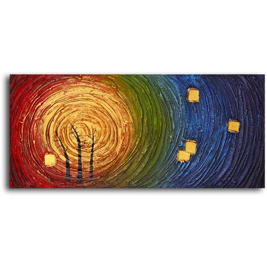 My Art Outlet Trees in Concentric Colors Original Painting on Canvas