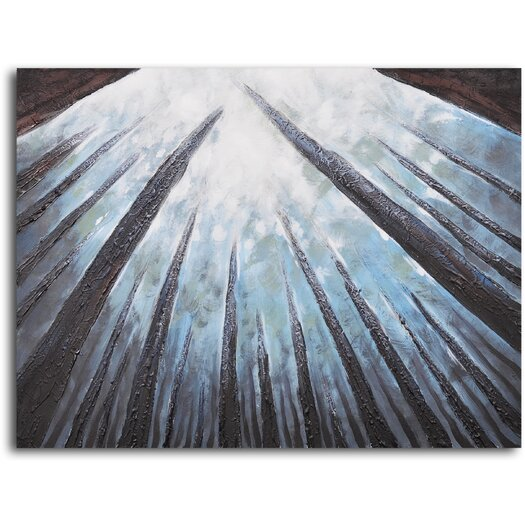 My Art Outlet 'Treetops Bathed in Mist' Original Painting on Canvas