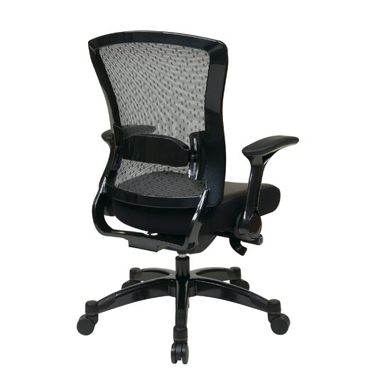 Office Star Products Space Seating Eco Leather Executive Back Chair with Flip Arms