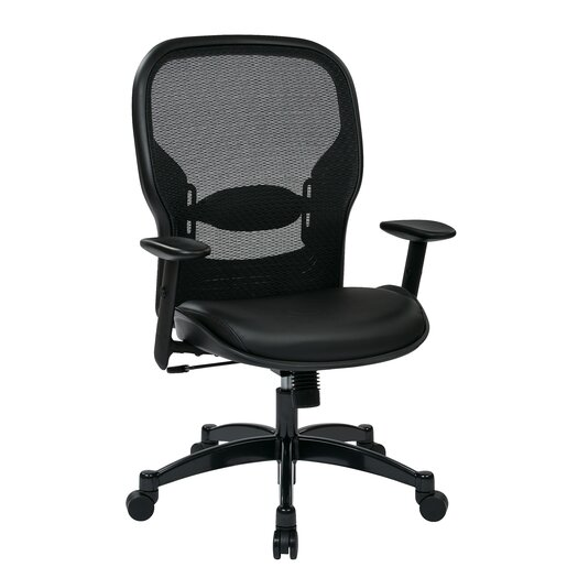 """Office Star Products Space Seating 21.25"""" Professional Breathable Mesh Back Chair with Eco Leather Seat"""