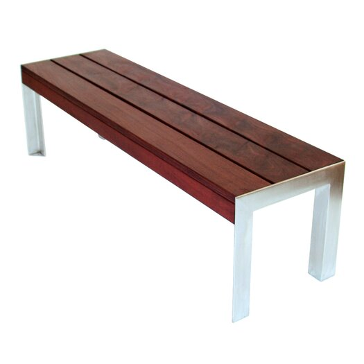 Modern Outdoor Etra Large Wood and Metal Bench