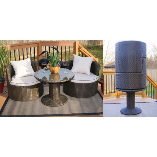 Deeco Geo Vino 5 Piece Seating Group in Dark Grey with Cushions