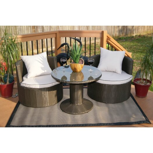 Deeco Geo Vino 3 Piece Seating Group in Dark Grey with White Cushions