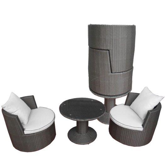 Deeco Geo Vino 3 Piece Seating Group in Dark Grey with Cushions