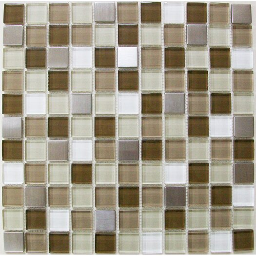"MS International 1"" x 1"" Crystallized Glass Glossy Mosaic in Escorial Blend"