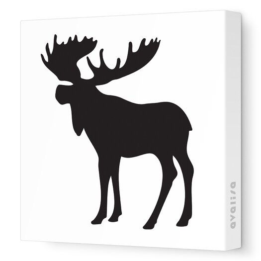 Avalisa Silhouettes Moose Stretched Canvas Art
