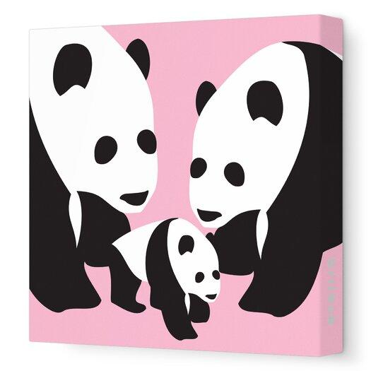 Avalisa Animals Three Pandas Stretched Canvas Art