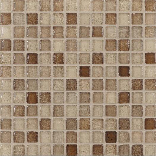 "Casa Italia Fashion 1"" x 1"" Glass Mosaic in Mix Sand"