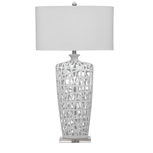 """Bassett Mirror Erowin 35"""" H Table Lamp with Drum Shade"""