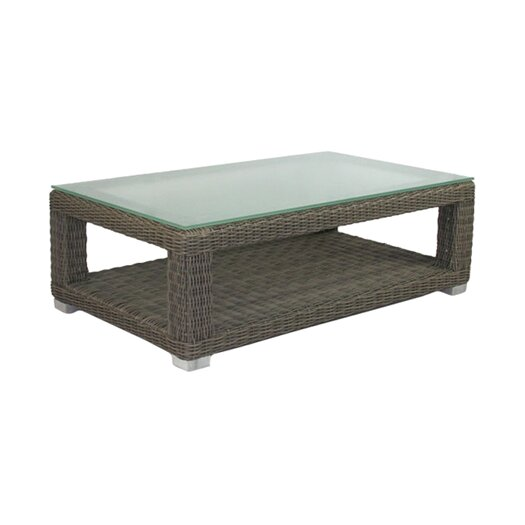 Patio Heaven Palisades Coffee Table with Tempered Glass Top