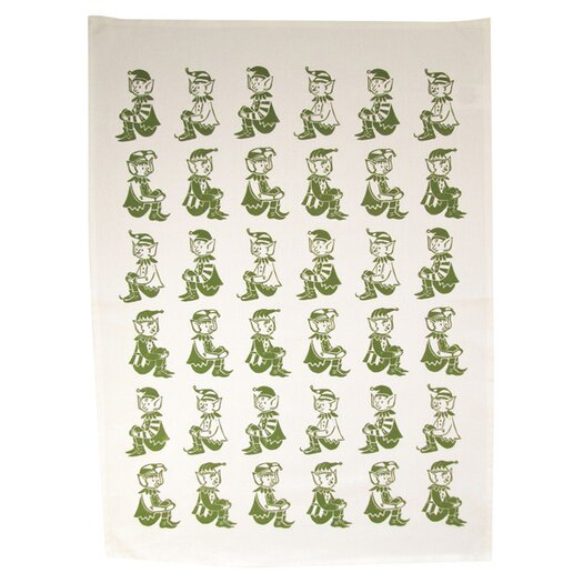 Artgoodies Organic Elves All Over Pattern Block Print Tea Towel
