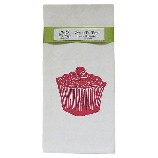 Artgoodies Organic Cupcake Block Print Tea Towel