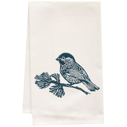 Artgoodies Organic Chickadee Block Print Tea Towel