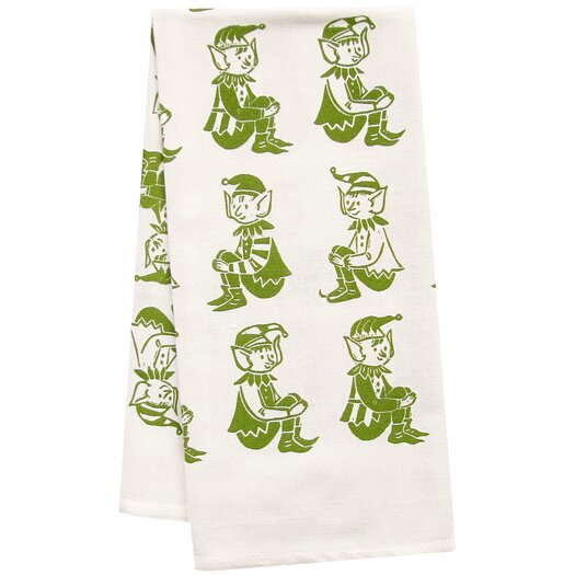 Artgoodies Organic Elves All Over Pattern Block Print Tea Towel
