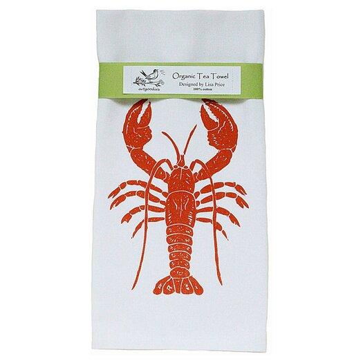 Artgoodies Organic Lobster Block Print Tea Towel