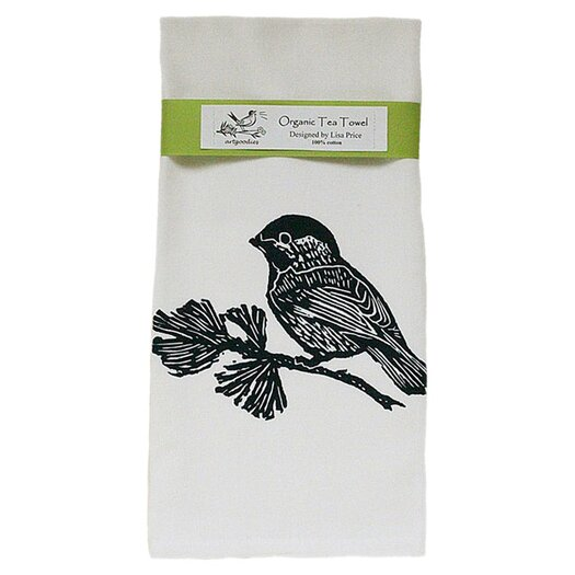 Artgoodies Organic Chickadee Block Print Tea Towel