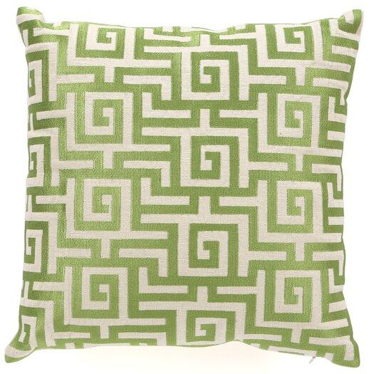 D.L. Rhein Greek Key Down Filled Embroidered Linen Pillow