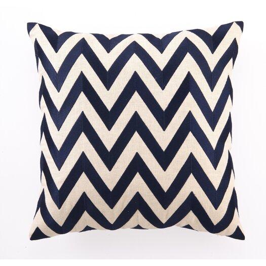 D.L. Rhein Zig Zag Down Filled Embroidered Linen Pillow