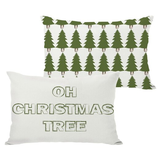 One Bella Casa Holiday Oh Christmas Tree Reversible Pillow
