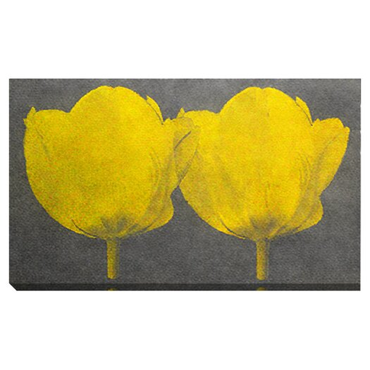 """Studio Works Modern """"Twin Tulips"""" Gallery Wrapped by Zhee Singer Painting Print on Canvas"""