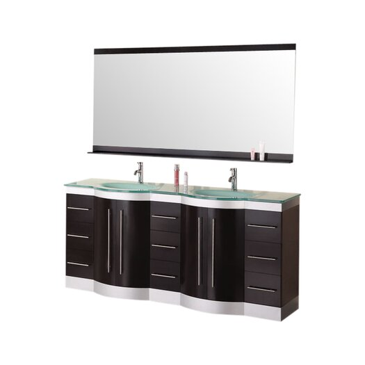 "Design Element Jade Jasper 72"" Bathroom Vanity Set with Double Sink"