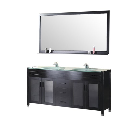 "Design Element Waterfall 61"" Double Bathroom Vanity Set with Mirror"
