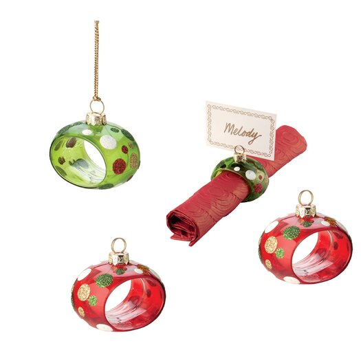 October Hill 4 Piece Dot Ornament and Napkin/Place Card Holder Set