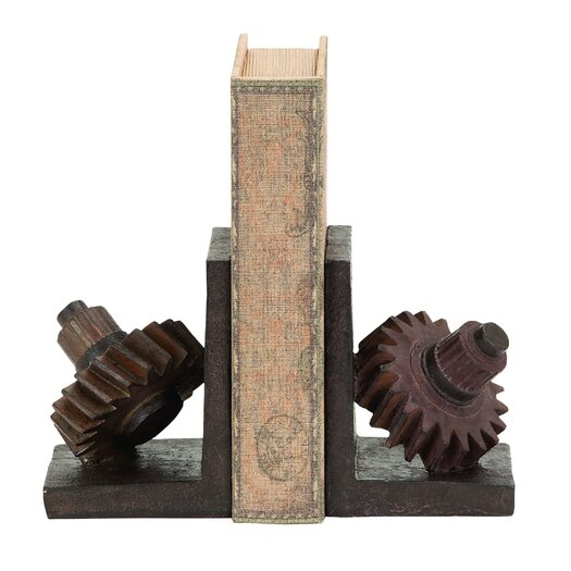 Woodland Imports Rusted Gear Themed Polystone Book Ends