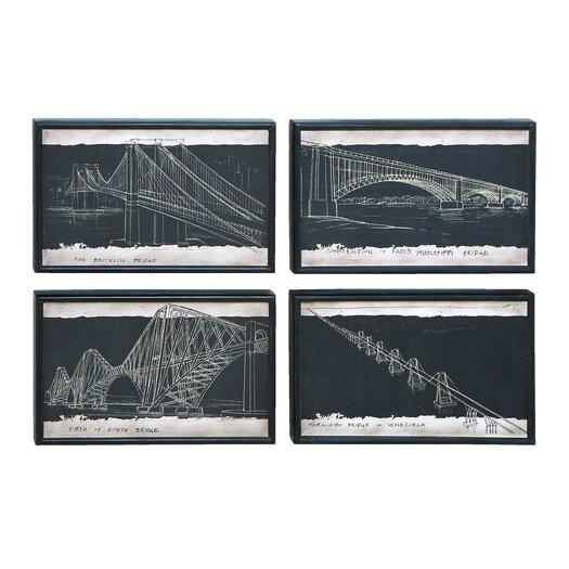 Woodland Imports Blueprint 4 Piece Framed Painting Print Set