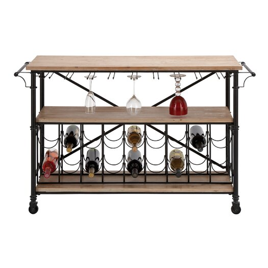 Woodland Imports Bar on Wheels 18 Bottle Wine Rack