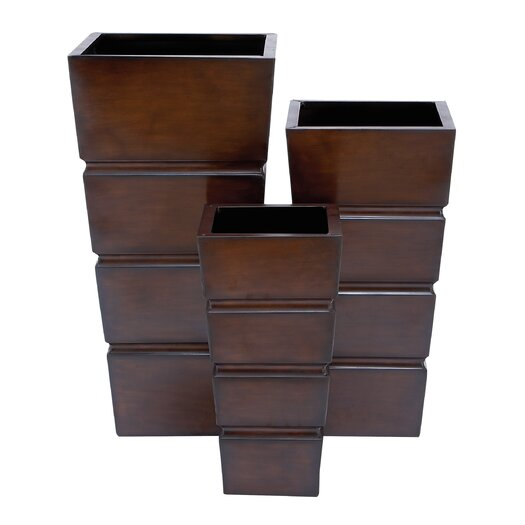 Woodland Imports 3 Piece Square Planter Set