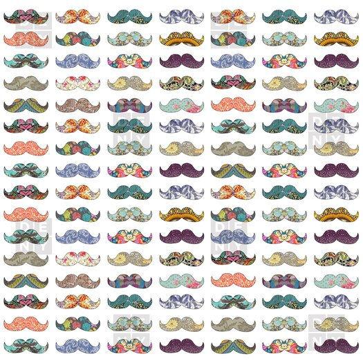 DENY Designs Bianca Woven Polyester Mustache Mania Shower Curtain
