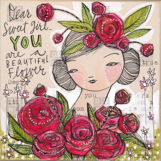 DENY Designs Cori Dantini Woven Polyester Dear Sweet Girl Shower Curtain