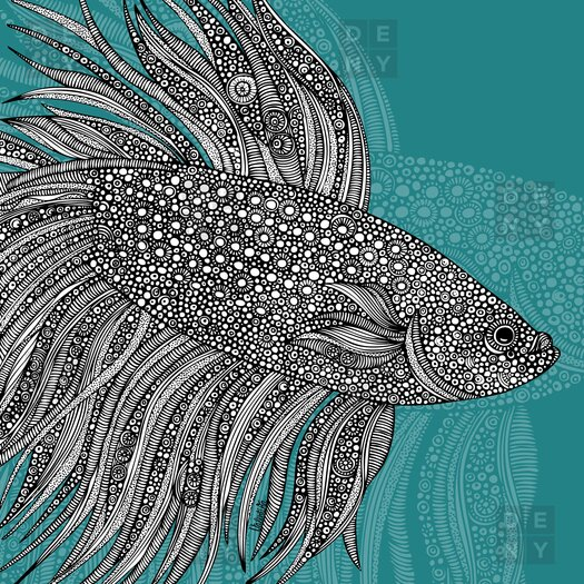 DENY Designs Valentina Ramos Woven Polyester Beta Fish Shower Curtain