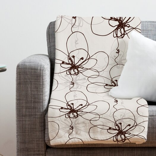 DENY Designs Rachael Taylor Tonal Floral Polyester Fleece  Throw Blanket