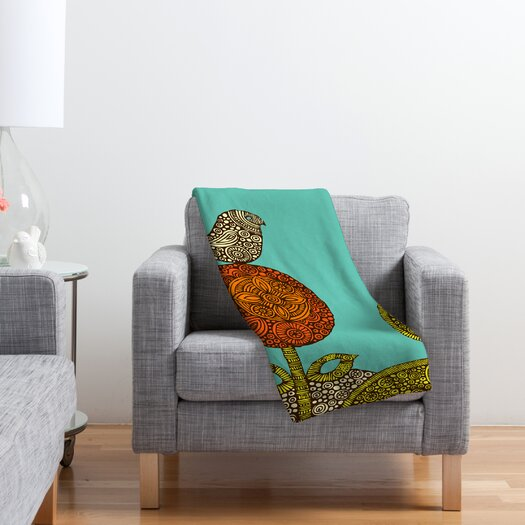 DENY Designs Valentina Ramos Bird in The Polyester Flower Fleece Throw Blanket